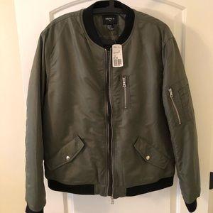 Men's XL Forever 21 Bomber Jacket (Olive/Black)
